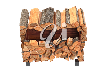 Wood cabinet chopped logs, top view. 3D graphic