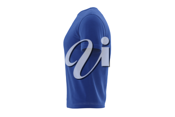 T-shirt blue fabric design short sleeves, side view. 3D graphic