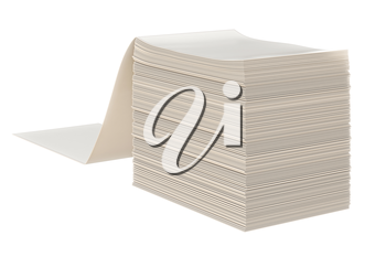 Paper stack label office file. 3D graphic