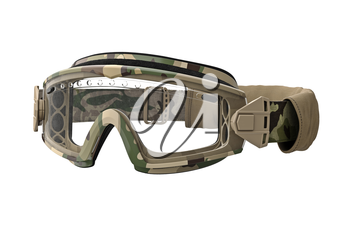 Military goggles in camouflage style. 3D graphic