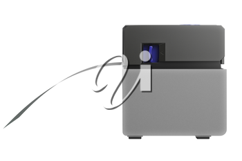 Barcode printer with label, side view. 3D graphic