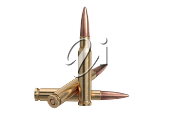 Bullet rifle ammunition of shiny metal. 3D graphic