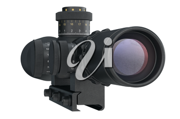 Scope optical military sniper rifle equipment, back view. 3D graphic