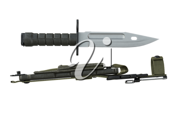 Knife army steel blade for battle and protection, side view. 3D rendering