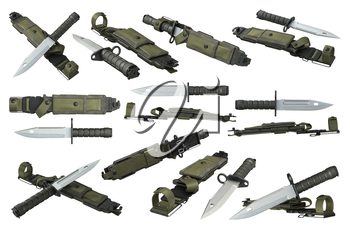 Knife army military with sharp blade and green sheath set. 3D rendering