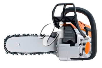 Chainsaw gasoline metal machine with power engine. 3D rendering