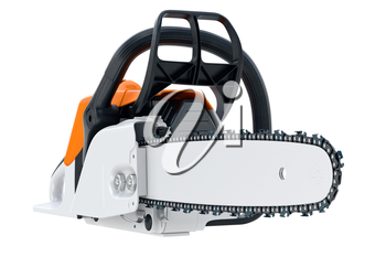 Chainsaw gasoline industry cutter with sharp chain. 3D rendering