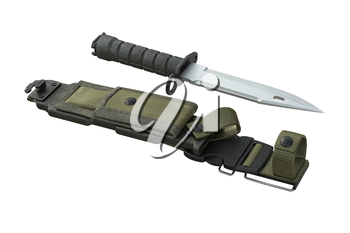 Knife army weapon stainless shiny edge. 3D rendering