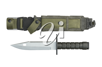 Knife army sheath and pointed sharp edge, top view. 3D rendering