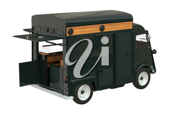 Food truck mobile eatery with open doors. 3D rendering