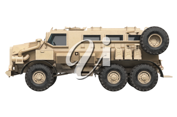 Truck military army defense armored car, side view. 3D rendering