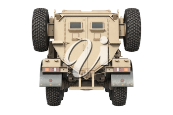 Truck army transport beige vehicle, back view. 3D rendering
