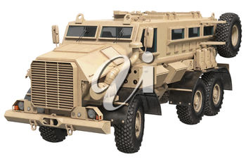 Truck army beige vehicle armored machine. 3D rendering