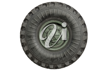 Car wheel military green rubber tire, side view. 3D rendering