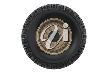 Car wheel military with sand rim, front view. 3D rendering
