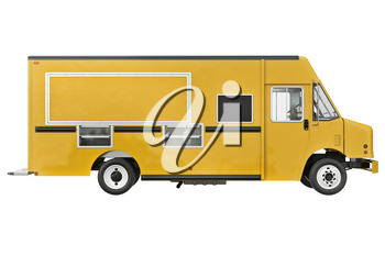Food car eatery on wheels, side view. 3D rendering