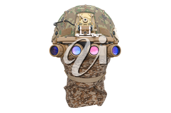 Helmet night goggles camouflage with bandage, front view. 3D rendering