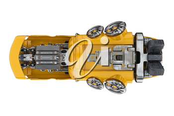 Future car flying with futuristic engine, bottom view. 3D rendering