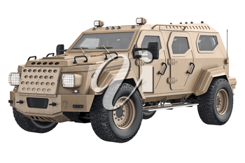 Suv luxury transport with sand wheel. 3D rendering