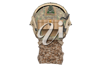 Helmet military camouflage protection, back view. 3D rendering