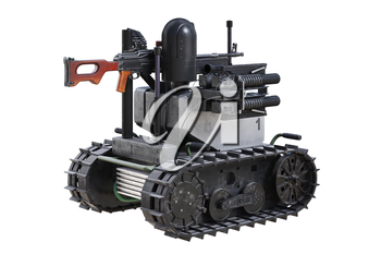 Military robot army vehicle with tracks. 3D rendering