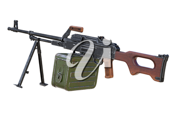 Machinegun automatic army with wooden handle. 3D rendering