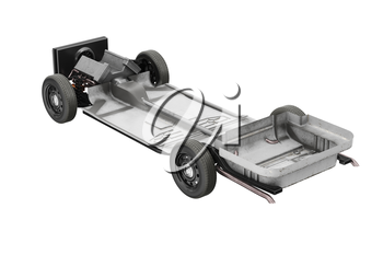 Chassis frame car with wheel. 3D rendering
