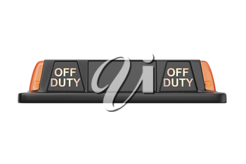 Taxi sign cab black with orange backlight, front view. 3D rendering