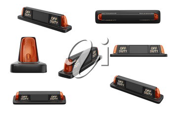 Taxi sign cab black with orange backlight set. 3D rendering