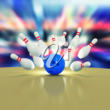 Illustration of scattered skittles and bowling ball on wooden floor