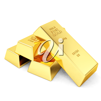 Four gold bars on white background