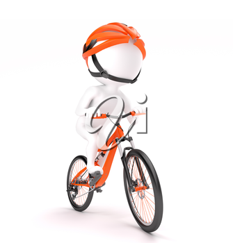 3d little man in helmet cycling over white