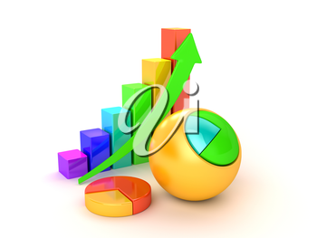 Three multicolored diagrams showing financial growth