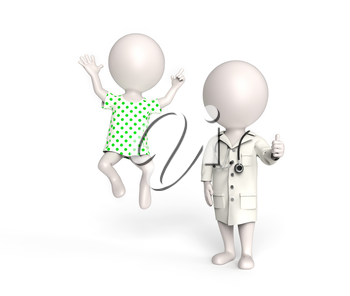 3D little white persons as doctor and patient in high spirits