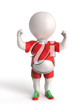 3D little overweight sportsnman showing his small biceps