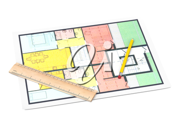 House plan with a pencil and a ruller on white background