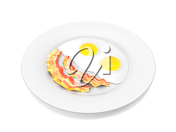 Scrambled eggs and bacon on the plate isolated on white background