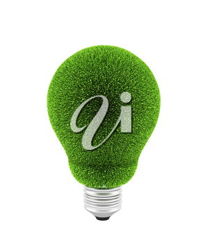 Light bulb with green grass on white