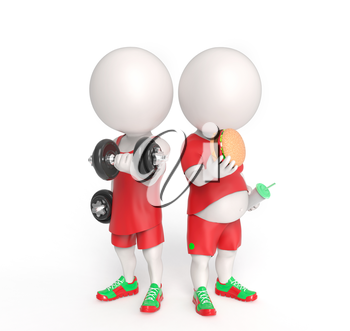 Two 3D little persons with dumbbells and with junk food