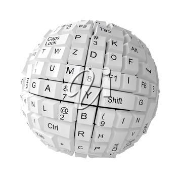 Random keyboard keys forming a sphere on white background