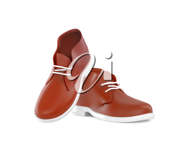 Modern men's shoes isolated over white background