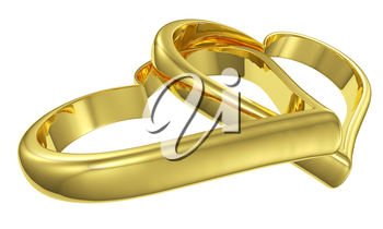 Couple of lying chained golden hearts isolated on white background diagonal view, wedding symbol