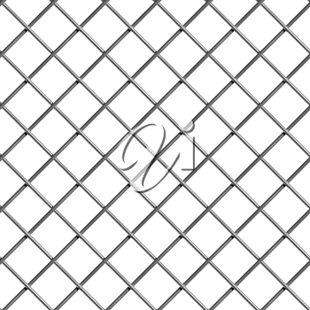 Braided wire steel net on white industrial abstract textured seamless background, front view