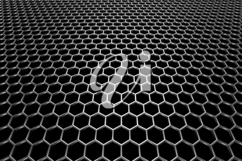 Steel grid with hexagonal holes and reflection on black background in perspective view