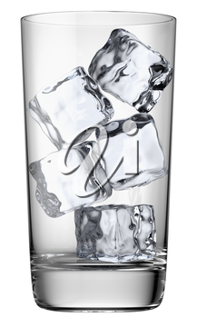 Clear glass with ice cubes isolated on white background