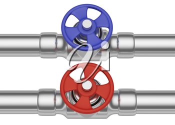 Plumbing pipeline with cold water and hot water pipes water supply system industrial construction: red valve and blue valve on two steel pipes isolated on white background, industrial 3D illustration,