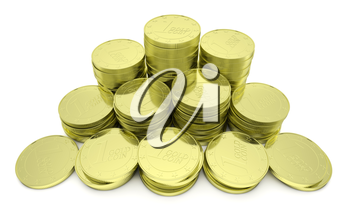 Business finance, financial success and wealth abstract creative concept: stack of gold goins towers arranged in golden pyramid with small shadows isolated on white background closeup