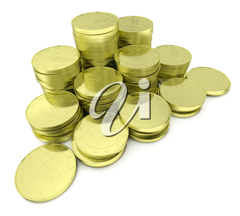 Business finance, financial success and wealth abstract creative concept: stack of gold goins towers arranged in golden pyramid with small shadows isolated on white background, diagonal closeup view