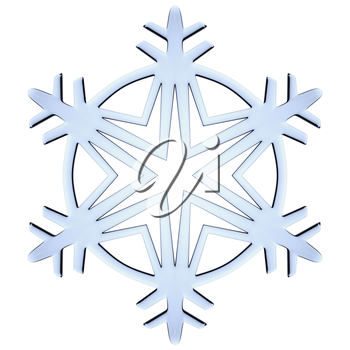 Blue icy decorative snowflake isolated on white background