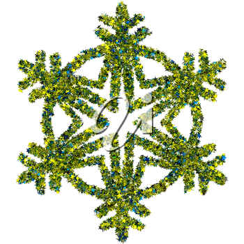 Decorative snowflake made of colored foil stars confetti isolated on white background